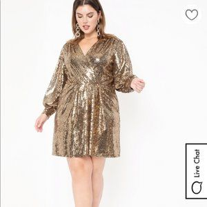 Eloquii Sequin Puff Sleeve Wrap Dress NWT